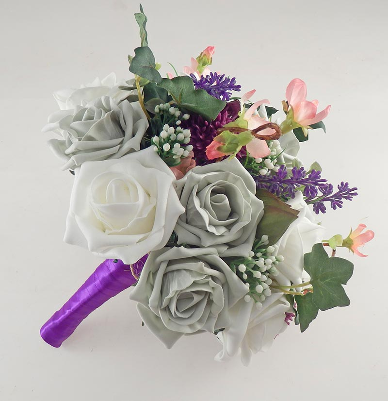 Beth Grey Rose, Purple Allium Butterfly Charm Wedding Flower Package