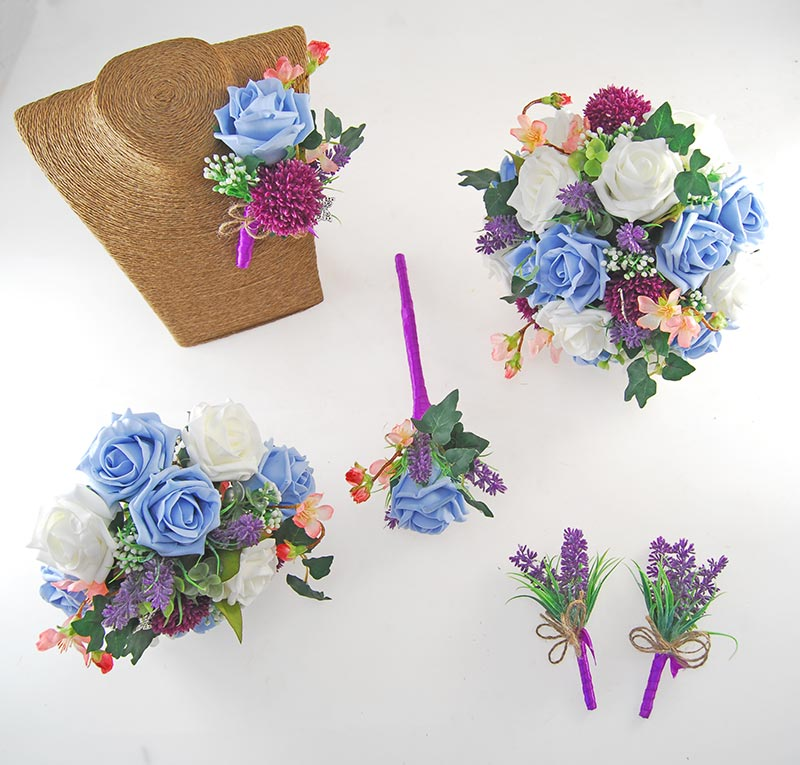 Beth Light Blue Rose, Purple Allium Butterfly Charm Wedding Flower Package