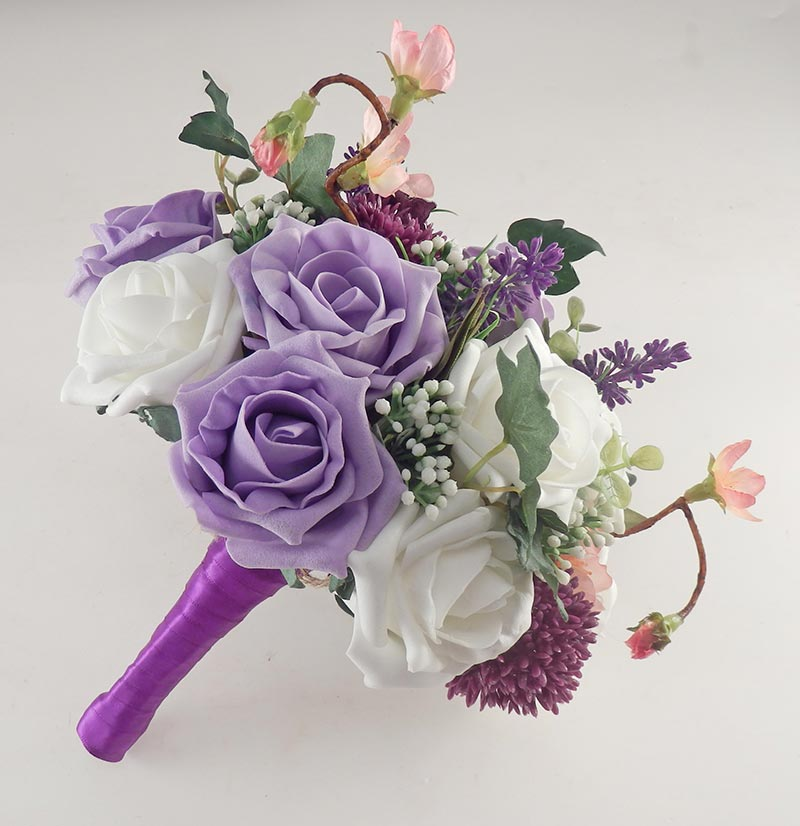 Beth Lilac Rose, Purple Allium Butterfly Charm Wedding Flower Package
