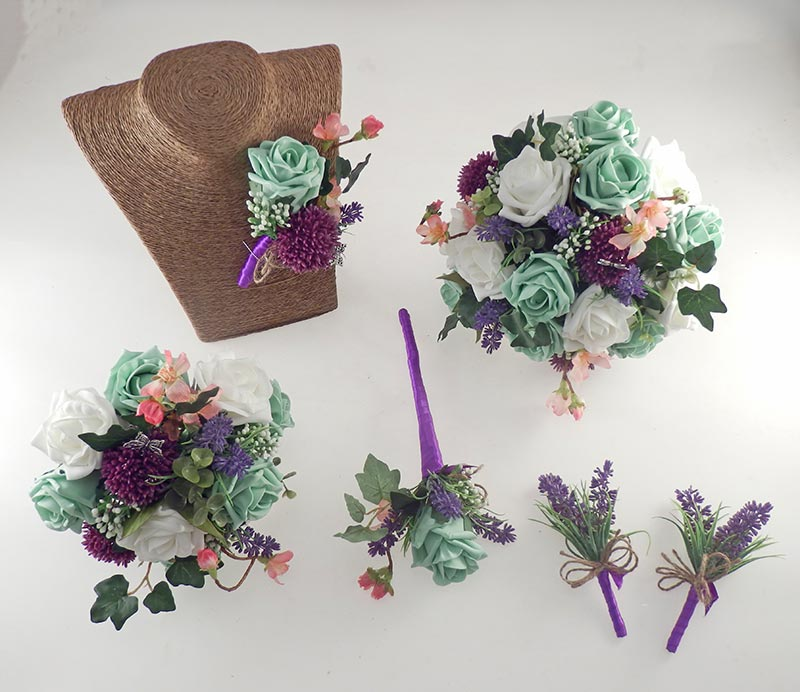 Beth Mint Green Rose, Purple Allium Butterfly Charm Wedding Flower Package