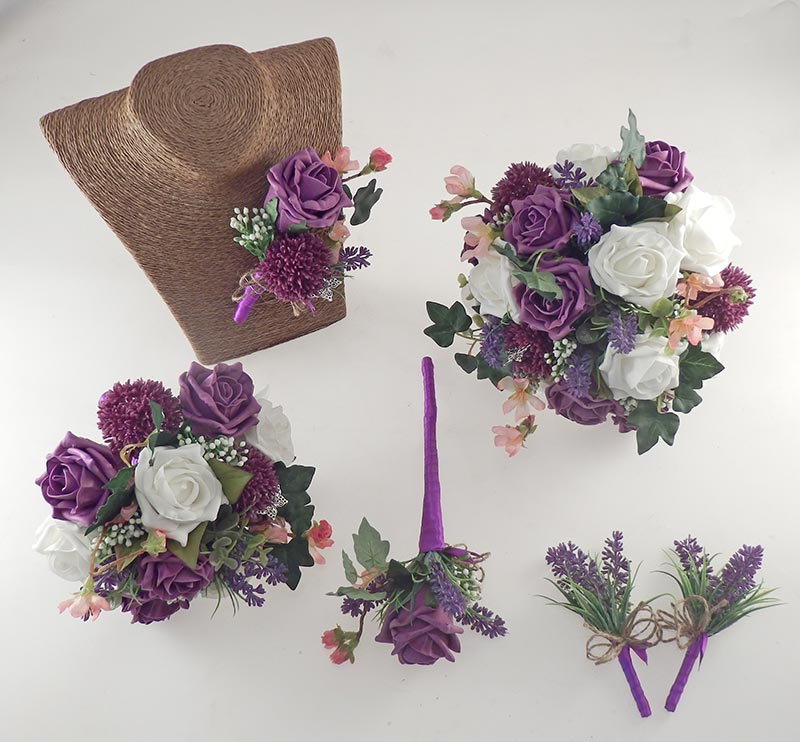 Beth Plum Purple Rose, Purple Allium Butterfly Charm Wedding Flower Package