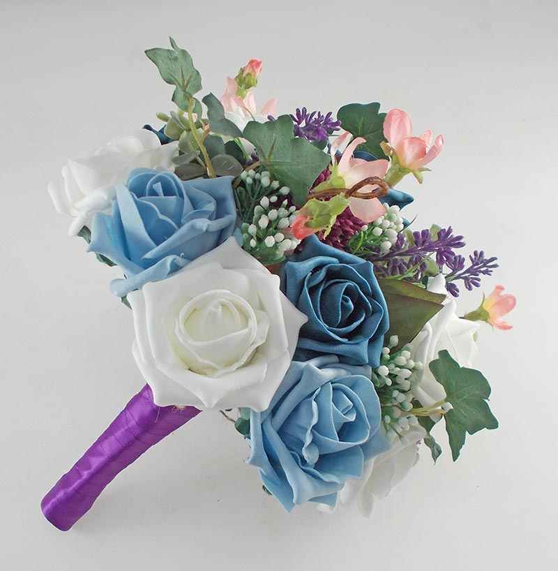 Beth Teal Rose, Purple Allium Butterfly Charm Wedding Flower Package