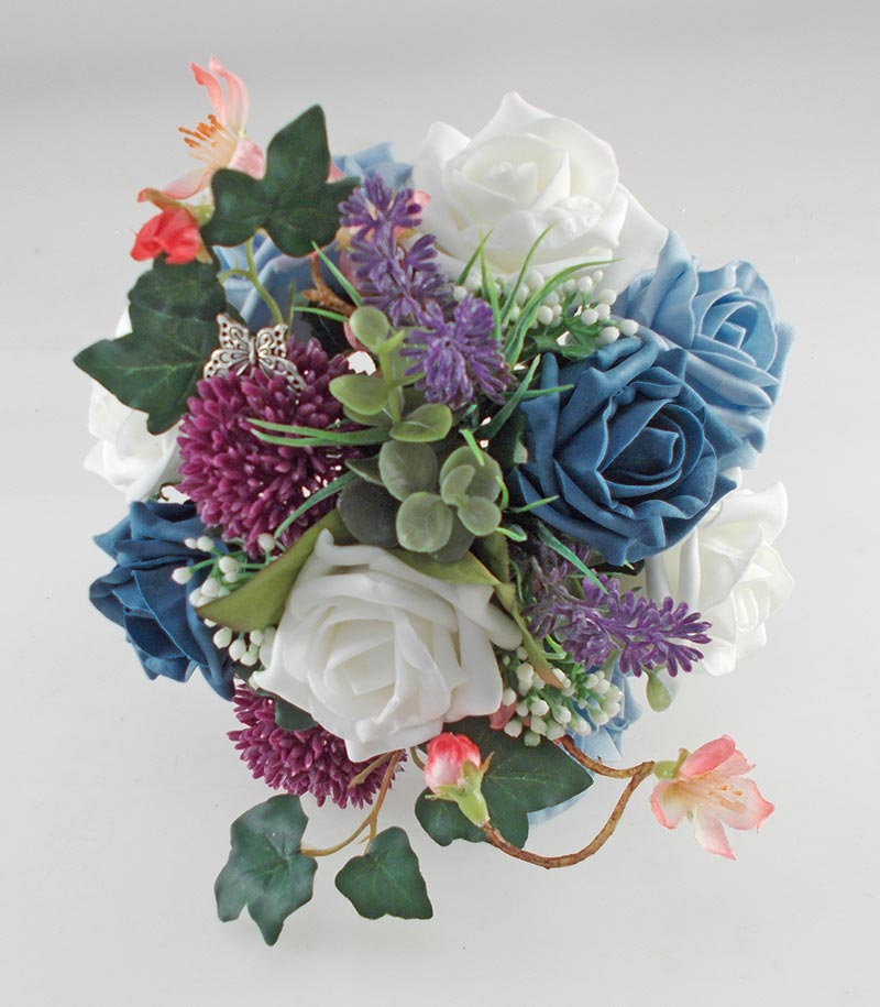 Wedding Flowers On A Budget Uk: Beth Teal Rose, Purple Allium Butterfly Charm Wedding