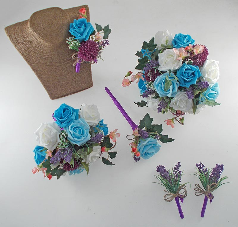 Beth Turquoise Blue Rose, Purple Allium Butterfly Charm Wedding Flower Package