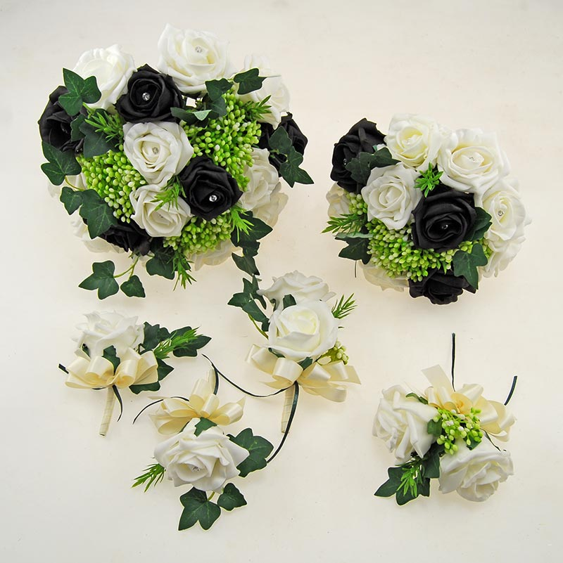 Ivory, Black Diamante Rose, Green Berry & Ivy Agatha Wedding Package