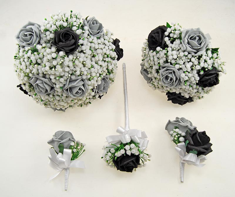 Black, Dark Grey Foam Rose & Ivory Gypsophila Yula Wedding Package
