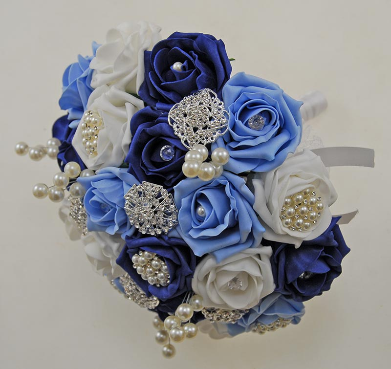 Bridal Blue Rose Bouquet with Silver Brooches, Pearls & Diamantes