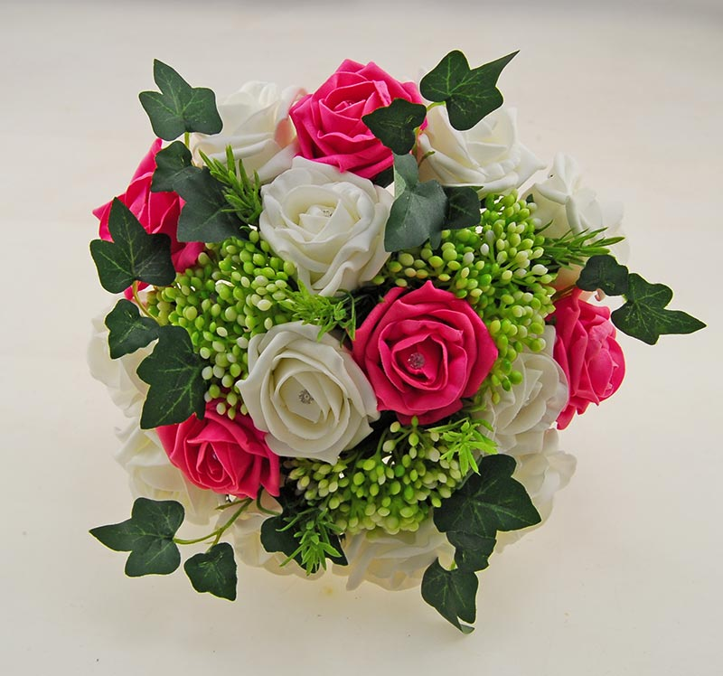 Ivory, Cerise Diamante Rose, Green Berry & Ivy Agatha Wedding Package