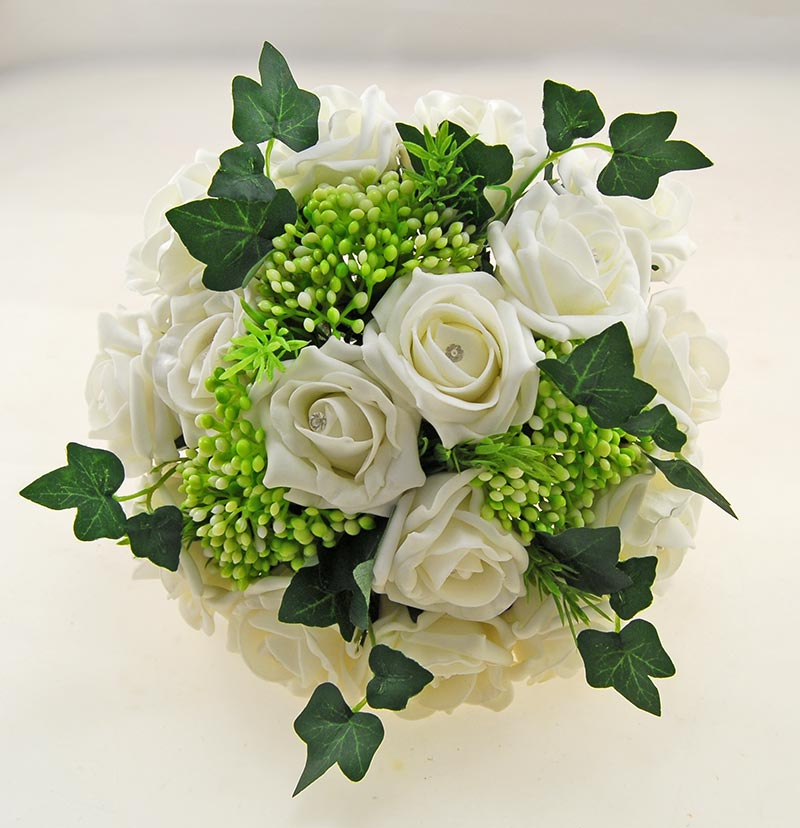 Ivory Diamante Rose, Green Berry & Ivy Agatha Wedding Package