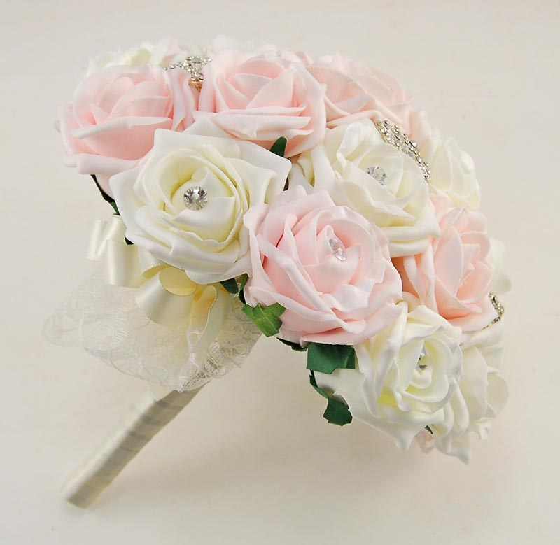 Light Pink & Ivory Foam Rose Classic Diamante Brooch Wedding Flower Package