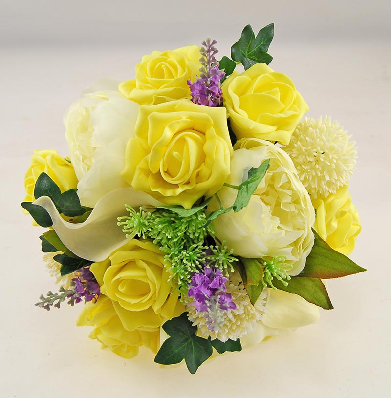 Tabitha Ivory Peony, Calla Lily, Allium, Purple Silk Lavender & Yellow Rose Wedding Package