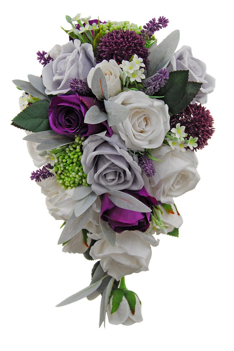 Bridal Shower Bouquet Purple Silk Rose,Stephanotis, Allium, Grey & Ivory Roses