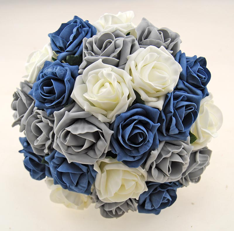 Dark Grey, Teal and Ivory Foam Rose Classic Wedding Package