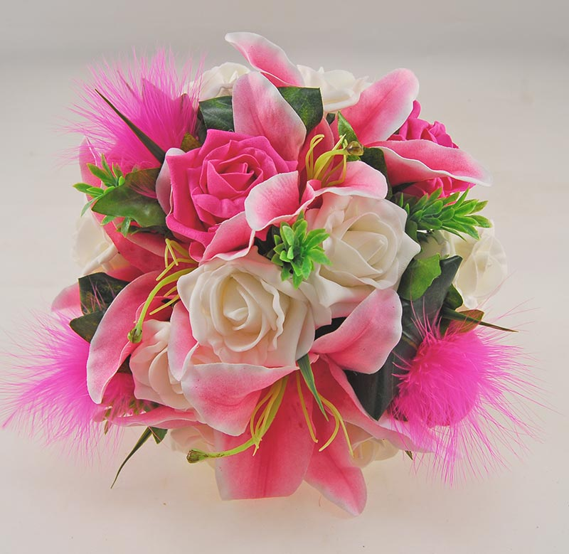 Pink Silk Stargazer Lily & Cerise Rose Nadine Feather & Lily Package
