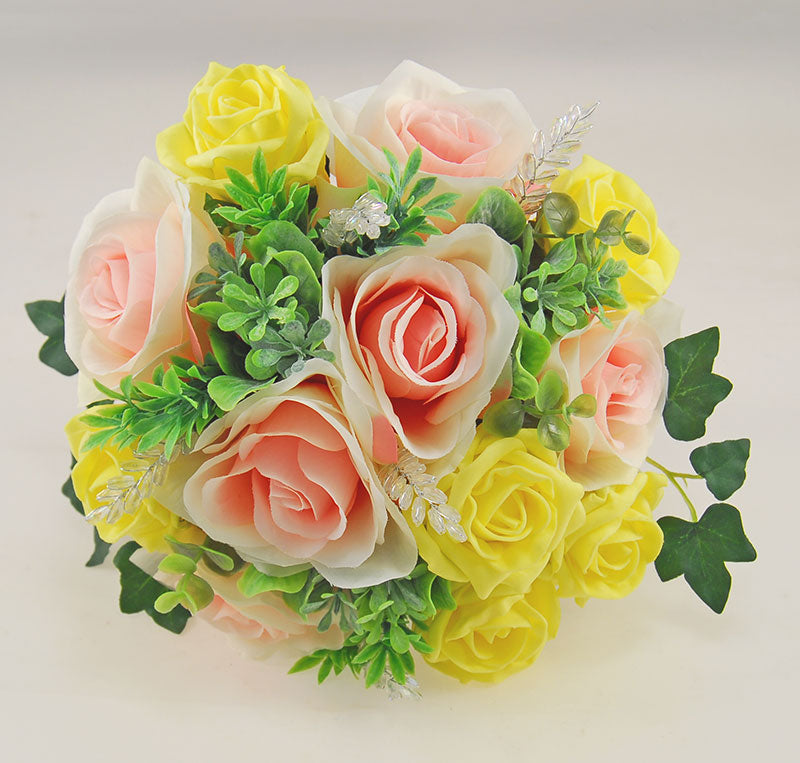 Yellow Foam & Pink Silk Rose Gemma Crystal Wedding Package