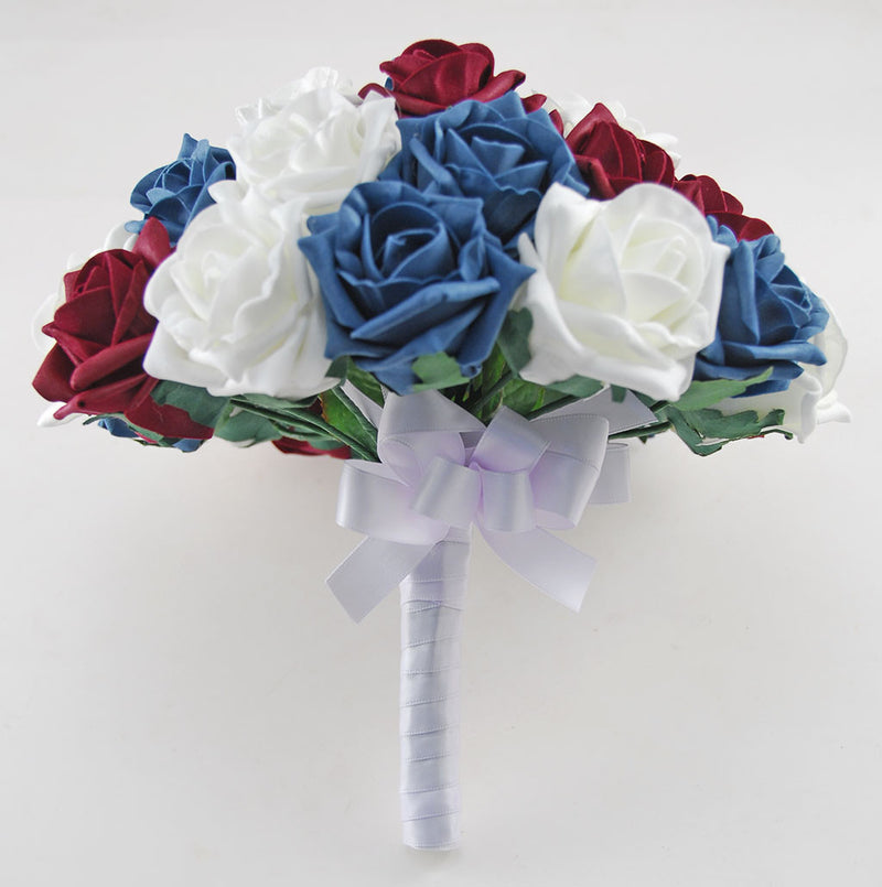 Bridal Teal, Burgundy & Ivory Foam Rose Wedding Bouquet