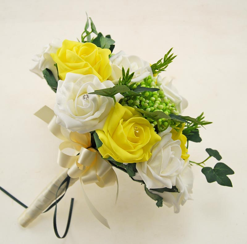 Ivory, Yellow Diamante Rose, Green Berry & Ivy Agatha Wedding Package