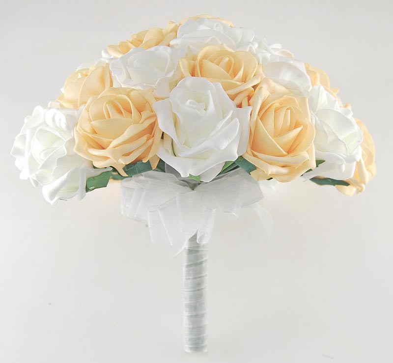 Brides Mango & Ivory Foam Rose Wedding Bouquet