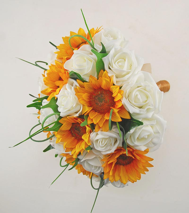 Brides Golden Yellow Silk Sunflower & Ivory Rose Wedding Bouquet