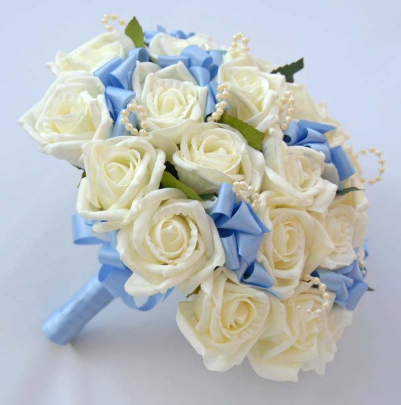 Brides Ivory Rose, Pearl Loop & Blue Ribbon Bow Wedding Bouquet