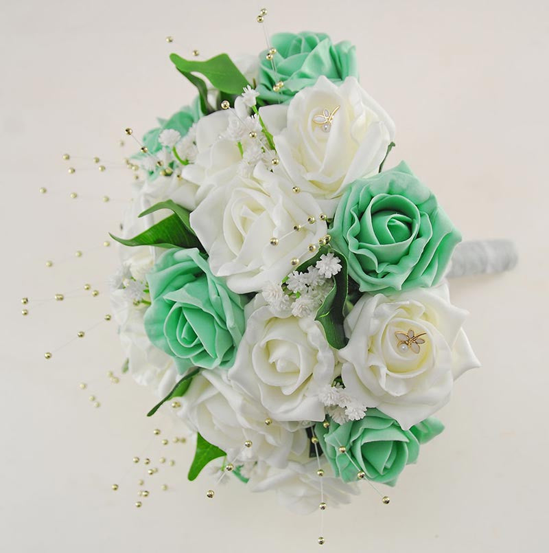 Wedding Flowers On A Budget Uk: Brides Ivory & Mint Green Wedding Bouquet With Gold Pearls
