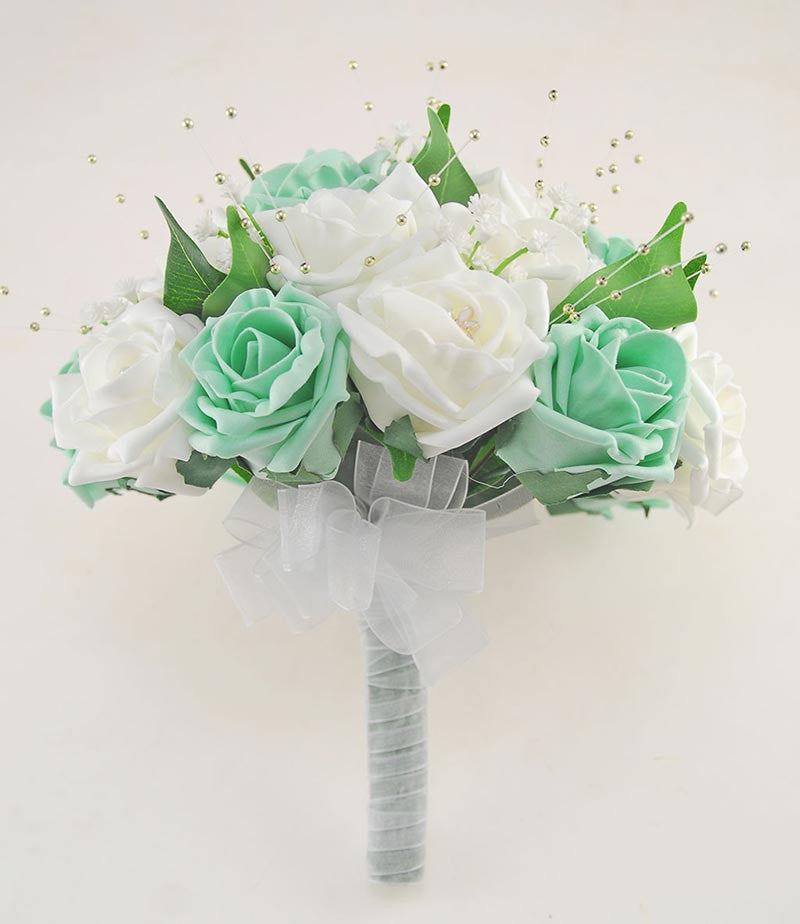 Brides Ivory & Mint Green Wedding Bouquet with Gold Pearls