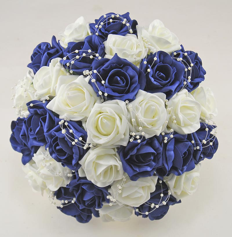 Brides Navy Blue, Ivory Foam Rose & Pearl Loop Bridal Bouquet