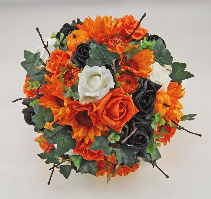 Brides Orange Silk Sunflower, Pumpkin & Black Rose Wedding Bouquet