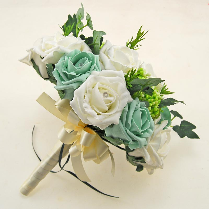 Ivory, Mint Green Diamante Rose, Green Berry & Ivy Agatha Wedding Package