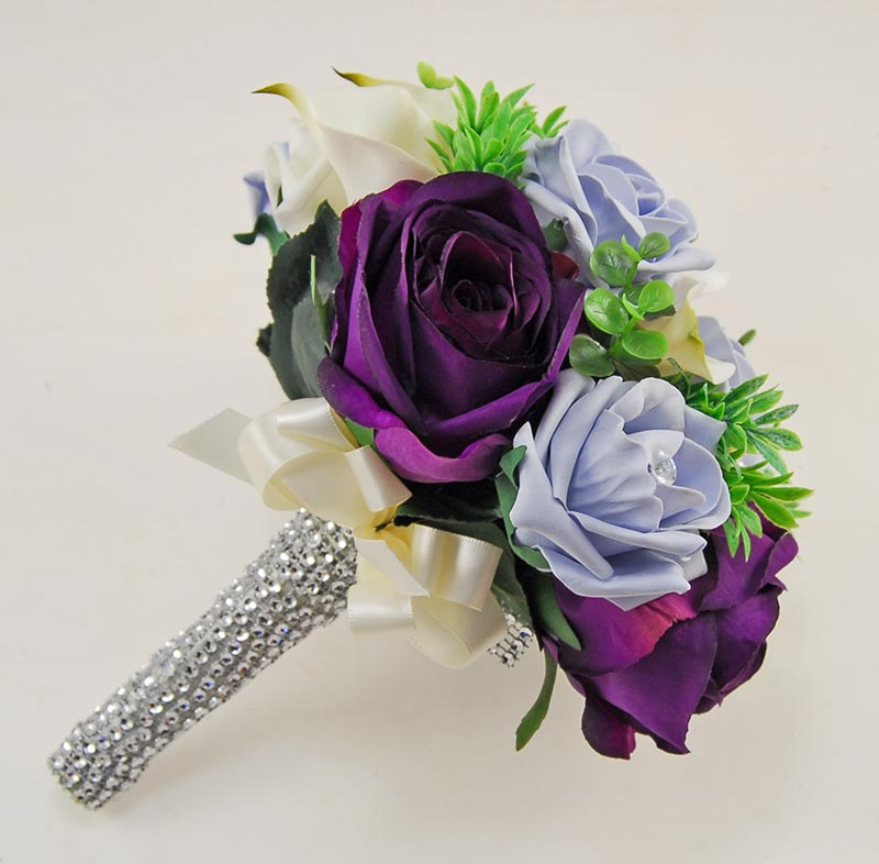 Brides Purple Blue Rose Ivory Calla Lily & Pearl Wedding Bouquet