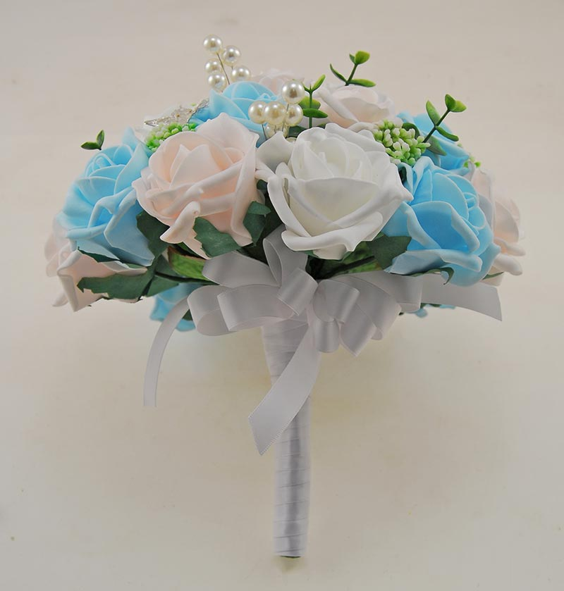 Brides Aqua, Pink, White & Cream Rose Gyp, Pearl & Butterfly Wedding Bouquet