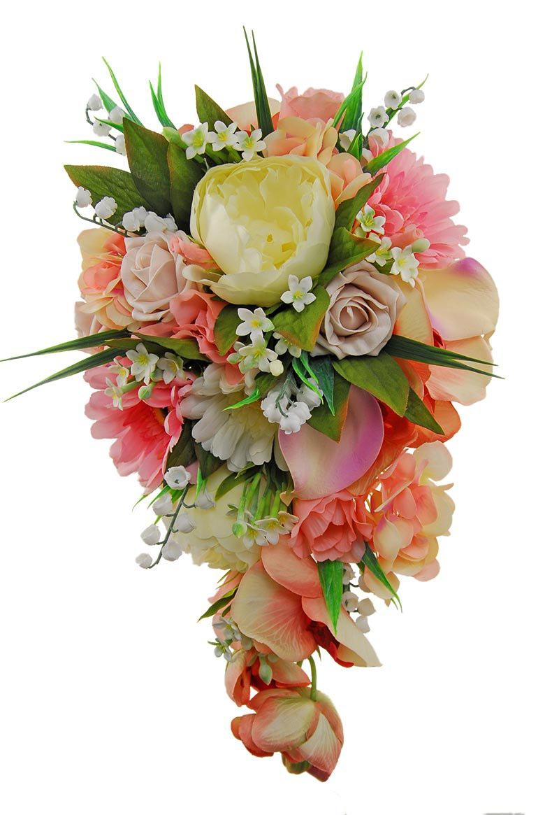 Brides Artificial Shower Bouquet Pink Shades & Ivory Flowers