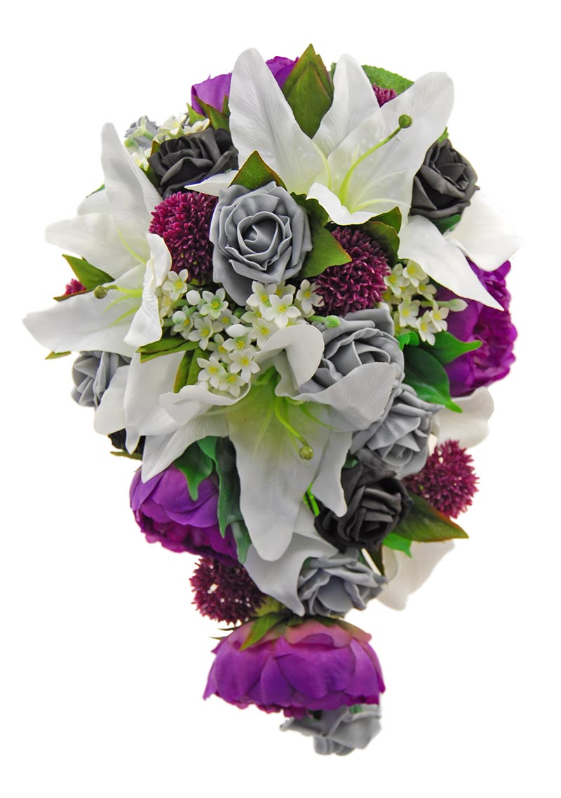 Brides Artificial Shower Teardrop Bouquet Ivory, Purple & Black