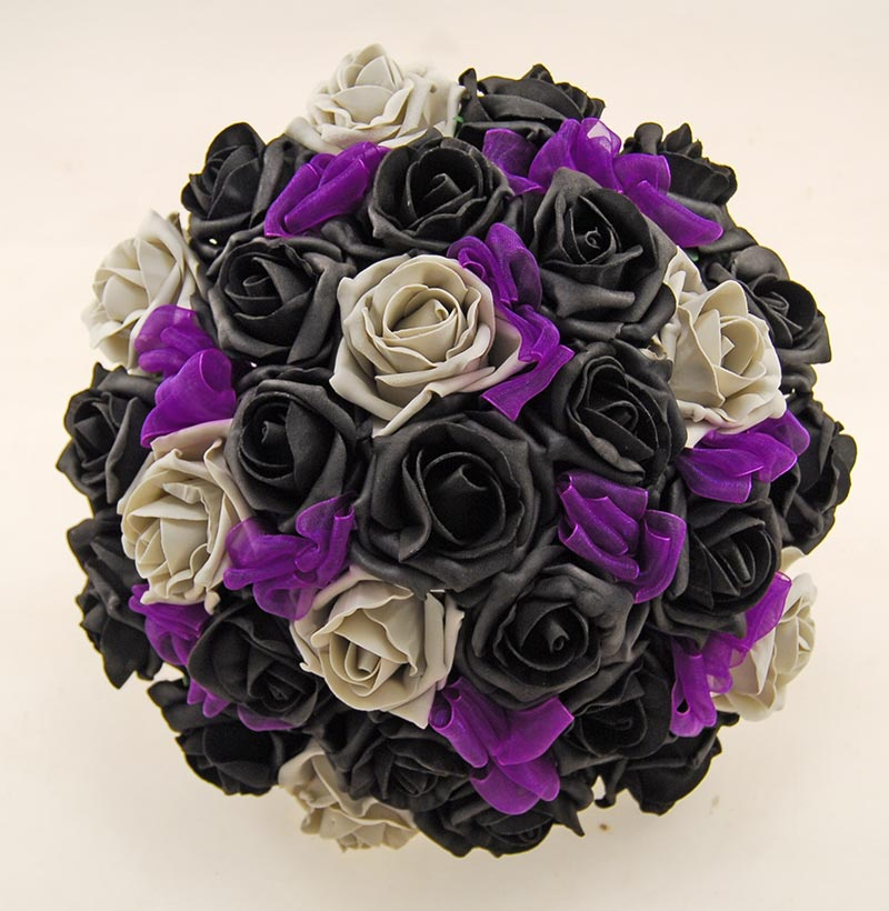 Brides Grey, Black Rose & Purple Organza Ribbon Bow Wedding Bouquet