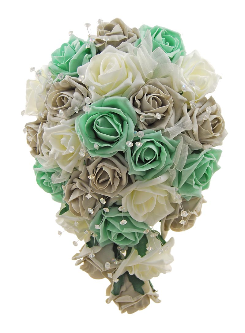 Brides Mint Green, Light Grey, Ivory Foam Rose Wedding Shower Bouquet