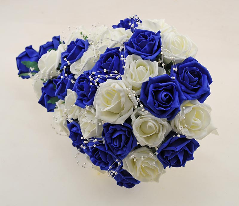 Brides Royal Blue, Ivory Foam Rose and Pearl Wedding Shower Bouquet