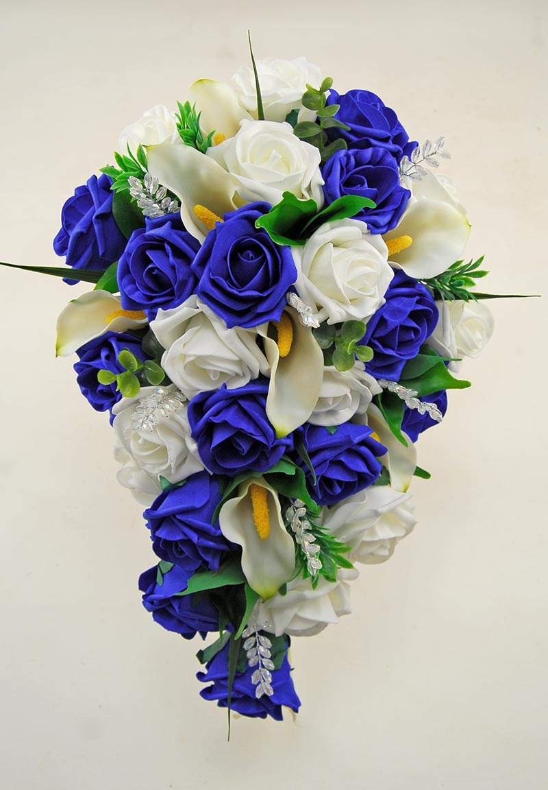 Brides Royal Blue, Ivory Foam Rose and Calla Lily Wedding Shower Bouquet