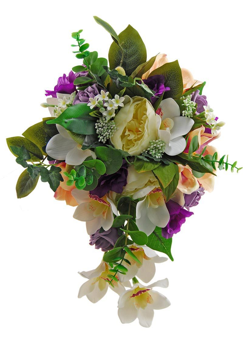 Brides Shower Bouquet Purple Lisianthus, Ivory Orchid, Magnolia & Peony