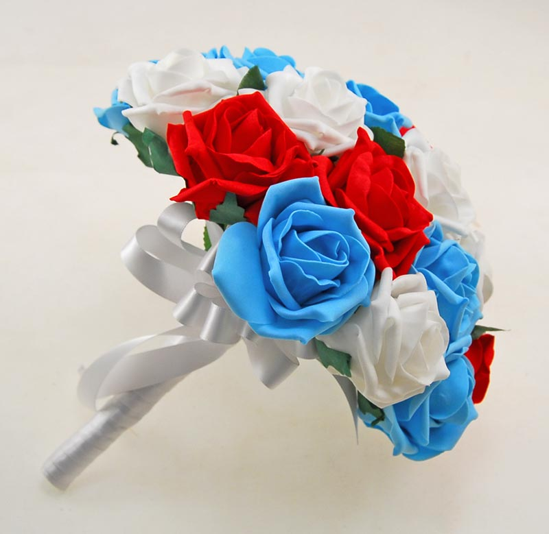 Brides Turquoise, White & Red Artificial Foam Rose Wedding Bouquet