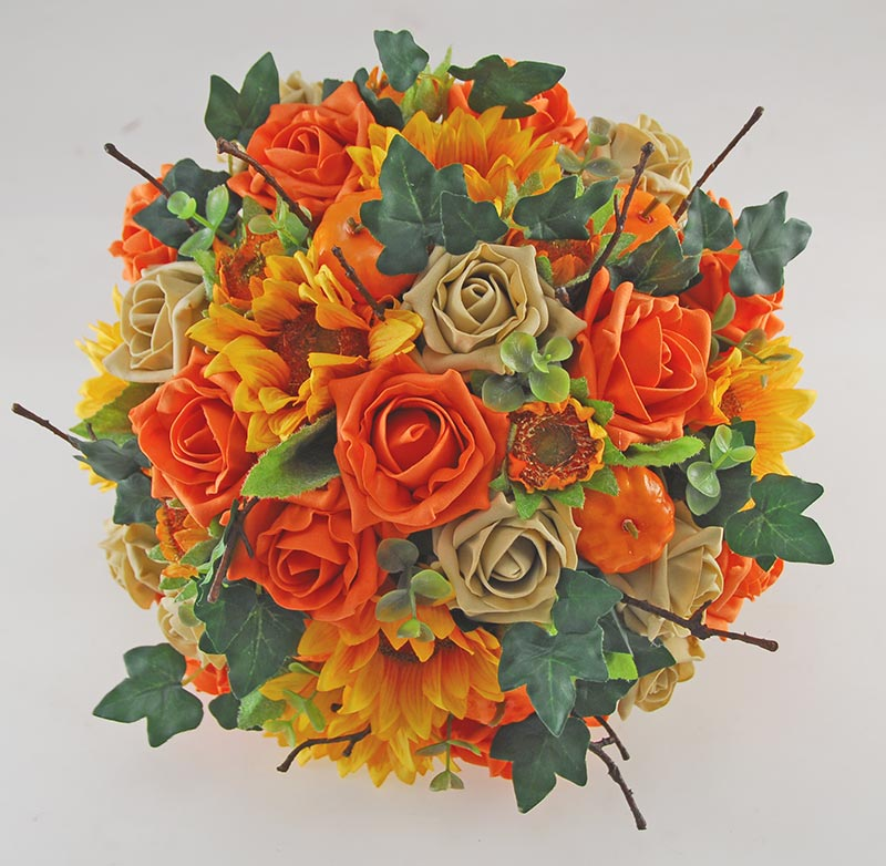 Brides Artificial Orange Pumpkin, Rose & Silk Sunflower Wedding Bouquet