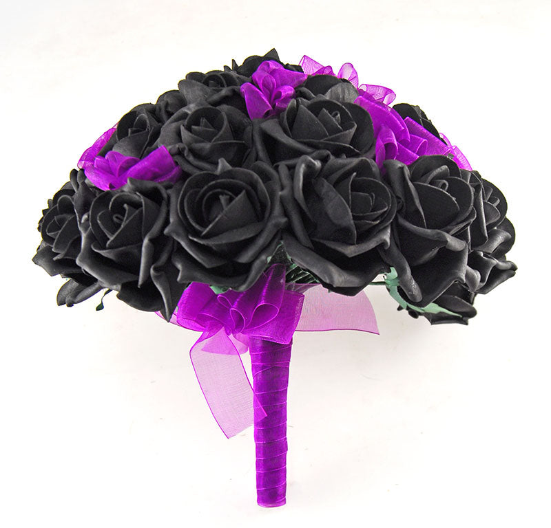 Brides Black Rose & Purple Organza Ribbon Bow Wedding Bouquet