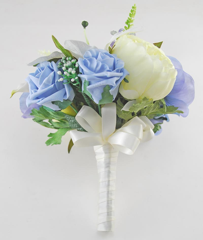Brides Blue Rose, Anemone & Ivory Casablanca, Calla Lily Wedding Bouquet