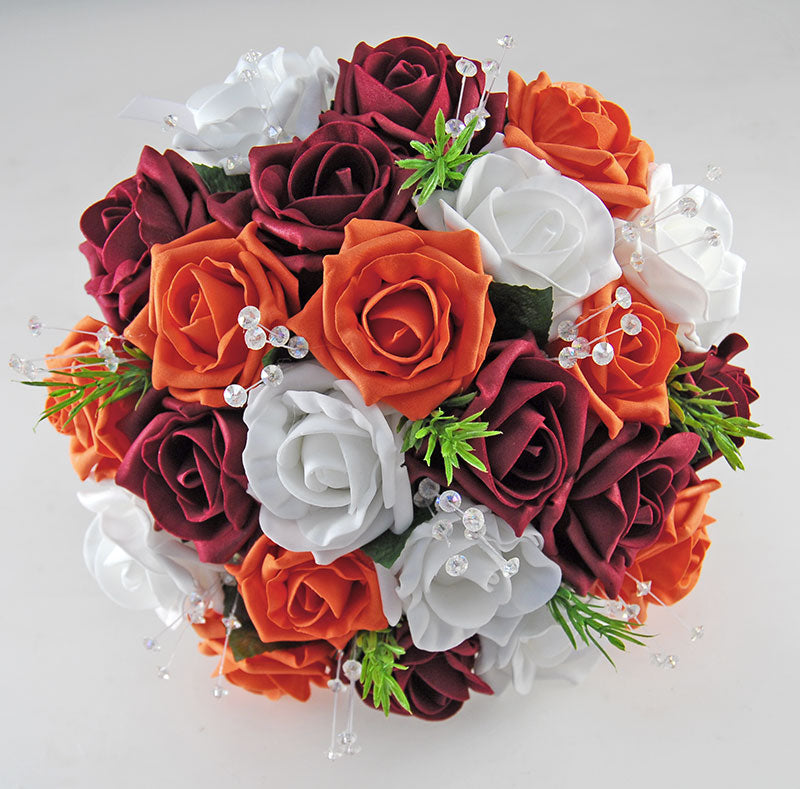 Wedding Flowers On A Budget Uk: Burgundy, Orange & White Rose Wedding Flower Package With