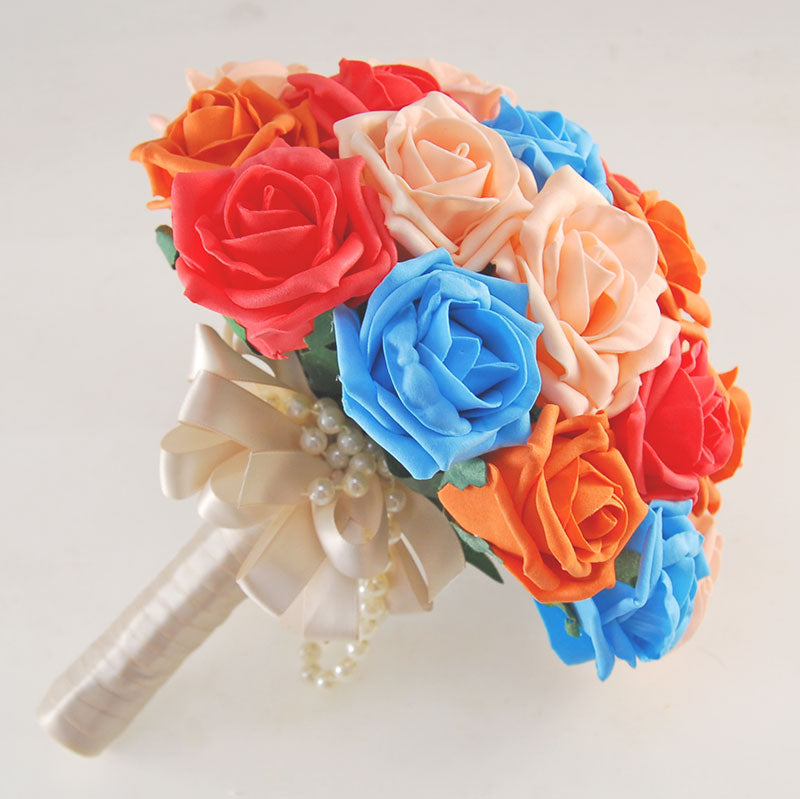 Coral, Peach, Turquoise, Orange Rose & Handle Name Charm Wedding Vanessa Package