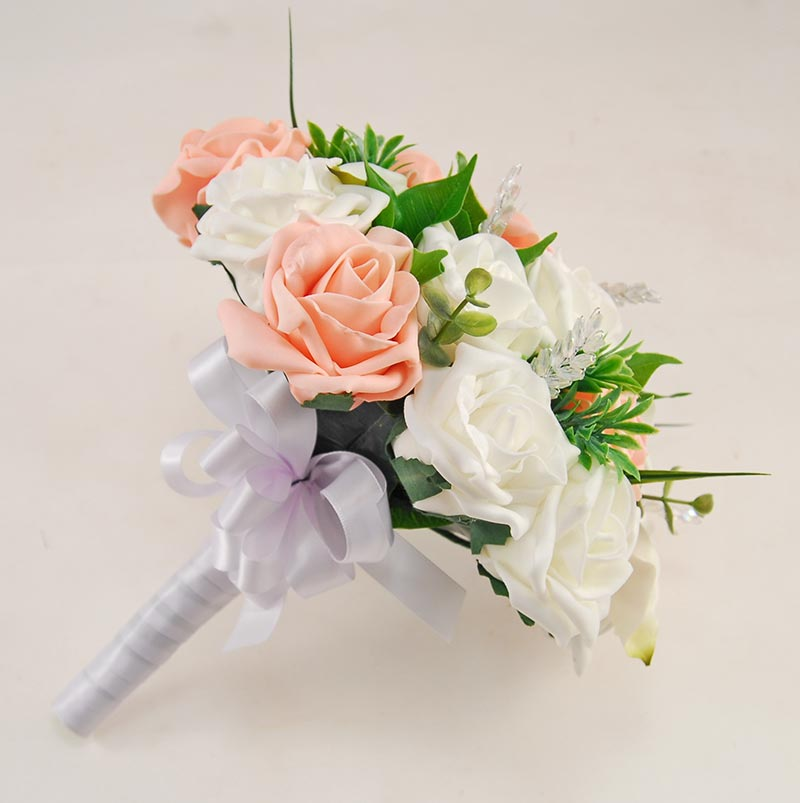 Ivory Calla Lily, Foam Rose, Crystals and Peach Rose Mia Wedding Flower Package