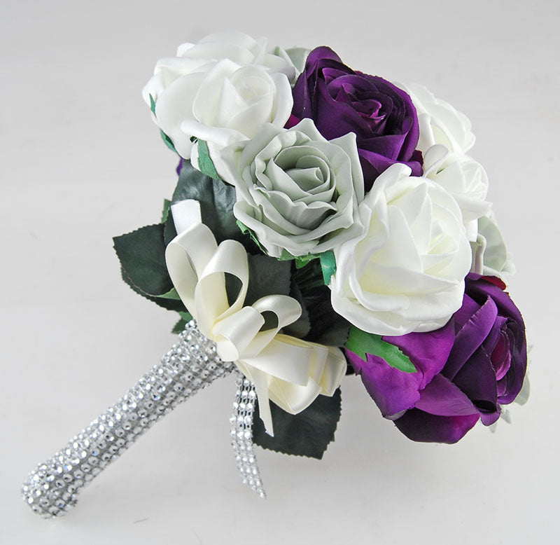Nicole Grey, Ivory Foam & Silk Purple Rose Diamante Handle Wedding Package