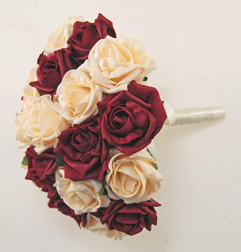 Brides Burgundy & Cream Artificial Foam Rose Wedding Bouquet
