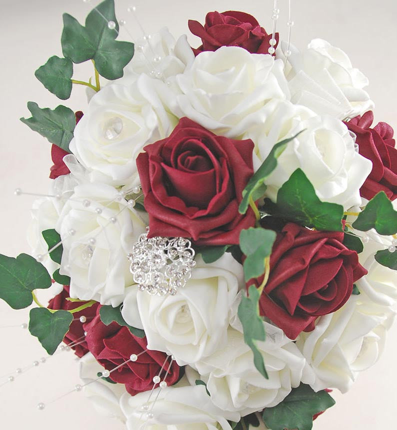 Brides Burgundy & Ivory Rose Wedding Shower Bouquet with Diamante Brooch