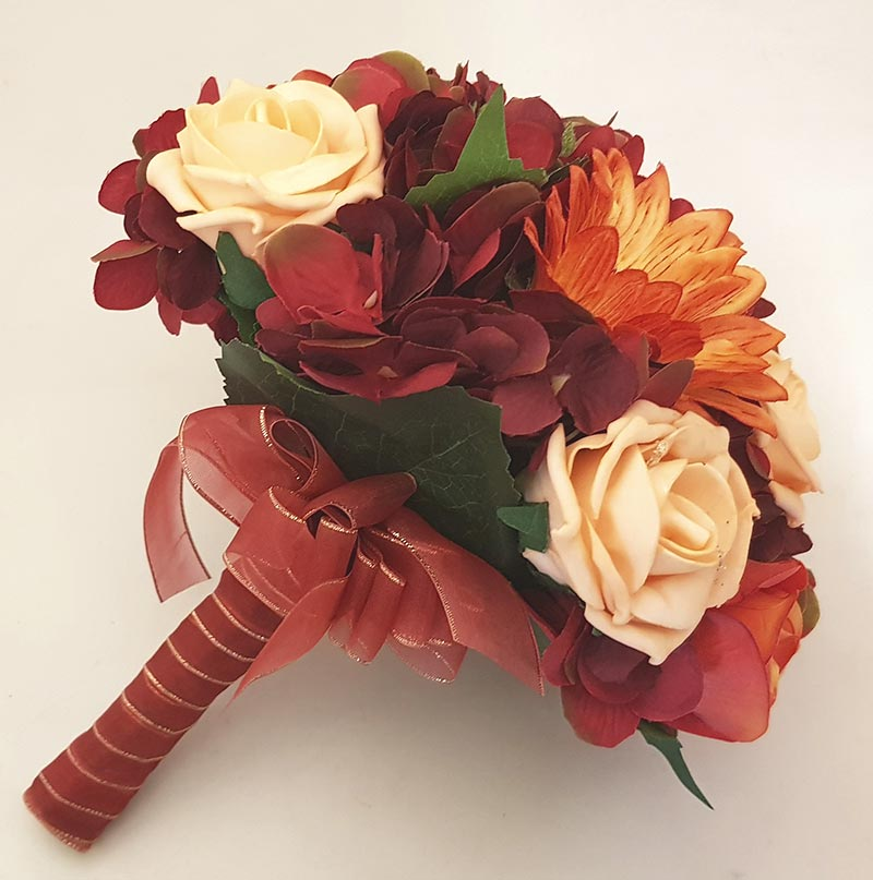 Brides Burgundy Silk Hydrangea, Sunflower & Orange Rose Wedding Bouquet