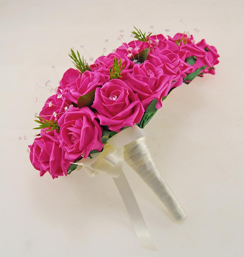 Brides Cerise Pink Diamante Rose, Rosemary & Crystal Shower Bouquet
